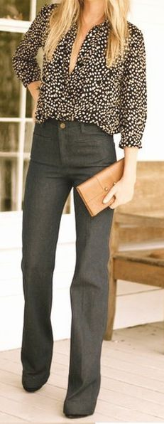 Love the dark jean for a put together business casual look.   Professional Style Guide