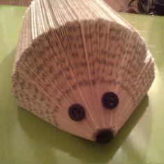 Hedgehog from folded book pages. Sooooo cute!