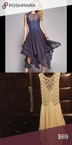 Free People Sheer Dress Purchased with no slip Excellent Condition never worn. Color is beige Free People Dresses Maxi