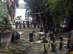 Batak stone chairs in Samosir - north-east of Samosir Island, Toba Lake, North Sumatra, Indonesia. Approximately 300 years old ancient ceremonial court site, in service up to recent times | T.Bachner