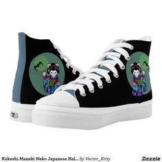7435b394d9a345 Kokeshi Maneki Neko Japanese Halloween Cat Maiko Printed Shoes Cat  Merchandise