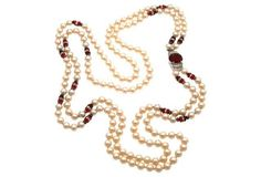 Art Deco Glass Pearl Necklace