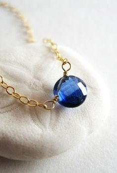 Tiny kyanite circle necklace gold blue stone