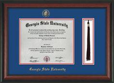 GSU Diploma Frame-Rosewood-w/GSU Seal-Tassel-Royal Blue on Red mat – Professional Framing Company