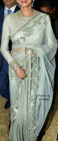 Make it Dear no more and saree for you. Try this gorgeous mint hue for your special day. Pakistani Dress Design, Pakistani Dresses, Indian Sarees, Indian Dresses, Indian Outfits, Indian Attire, Indian Wear, Phulkari Saree, Sabyasachi Collection