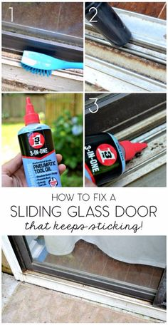 Easy Home Repair Hacks - Fix Sliding Glass Door - Quick Ways To Fix Your Home With Cheap and Fast DIY Projects - Step by step Tutorials, Good Ideas for Renovating, Simple Tips and Tricks for Home Improvement on A Budget Sliding Screen Doors, Sliding Door Track, Front Doors, Entry Doors, Diy Projects Step By Step, Home Renovation, Glass Door Repair, House Painting Cost, Slider Door