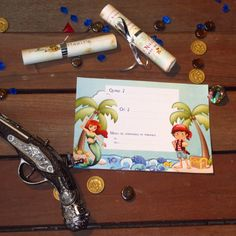 A Treasure Hunt Pirates and Mermaids - invitation for children between 4 and 5 years old