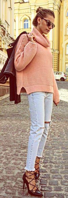Pink Knit + Denim
