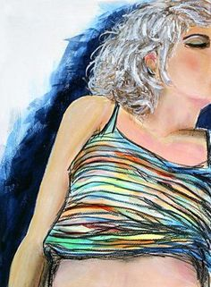 Acryl/Zeichnung (Mischtechnik) 'Frau im Ringelshirt' - Angelika Rump