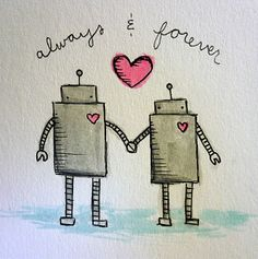 Oops, I Craft My Pants: Robots in Love: I love this SO MUCH!!! I just attempted a horrible version in my sketchbook, and found out my gel pens run. Ooops! :D