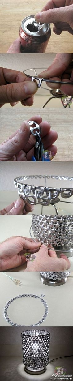 Coke Can Tabs - this continues to make a full lampshade >< also I Thought using the tabs  hooked over the top with w/out shade will is a good thought when decorating for a holiday if you need a base object to hang or hook something from.