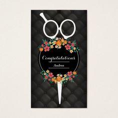 Hair Stylist Luxury Scissor & Flowers Appointment Business Card