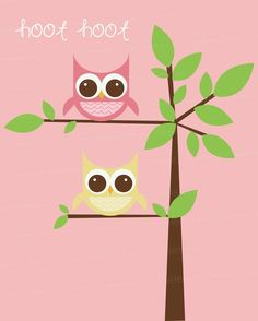 Printable Wall Art 8x10 or 11x17 Owl Friends  by seedtosprout, $12.00