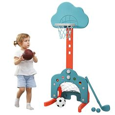 "3-in-1 toddler basketball hoop includes golf game, basketball game and soccer game. Children can not only play alone but also can play together with their friends, relatives and parents to enjoy the enlightenment of our basketball hoop.In addition, our toddler basketball hoop has 5 heights settings from 30.5""- 45.5"", which is suitable for kids in wide age range from 2 to 7. Besides, it is made of non-toxic materials and has a stable triangle structure, which significantly reduce collision…"