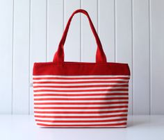 Hey Sailor.. Red / White Thin Stripes Tote Bag / by bayanhippo, $35.00