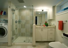 Ideas for combining a bathroom with a laundry room for a basement remodel | Smelly Towels? | Stinky Laundry? | Washer Odor? | http://WasherFan.com | Permanently Eliminate or Prevent Washer & Laundry Odor with Washer Fan™ Breeze™ | #Laundry #WasherOdor #SWS