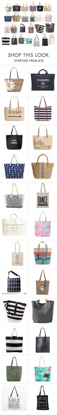 """""""Beach Bags"""" by silentpoetgeek ❤ liked on Polyvore featuring Kate Spade, Chanel, Style & Co., Monsoon, Venus, Skemo, Billabong, ALPHABET BAGS, Lilly Pulitzer and The Sak"""