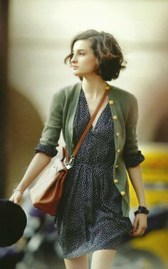 Cute Polka Dotted Dress With Green Cardigan. Outfit idea for fall. Pinned by Pink Pad, the women's health app with the built-in community!