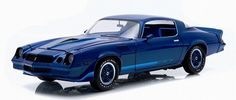This is the Greenlight Collectible release of the 1979 Chevrolet Camaro Z/28 in dark blue with blue stripes and blue interior in diecast.  This 1:18 scale Camaro Z/28 features opening doors, hood and trunk.  Greenlight's total production of this diecast is 1104 pieces worldwide.  This diecast replica car of the 1979 Chevrolet Camaro Z/28 in blue will be a great addition to your collection.