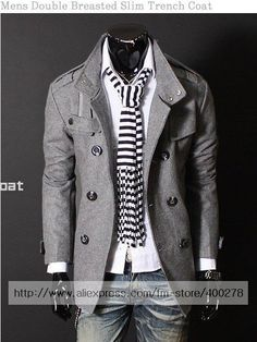 Mens Wool jacket Double Platoon Coat PEA Wool Half Trench Coat (www.aliexpress.com)