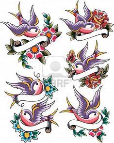 swallow tattoo set Stock Photo