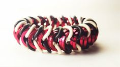 Red Black and White Stretch Bracelet  Unisex by AndrassidyDesigns