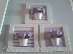 Trio de quadros em MDF com aplicacoes em vaso de ceramica e mini tulipas. Para compor a decoracao do quarto do bebe. A flor pode ser substituida por mini rosa. R$ 105,00