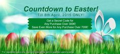 Countdown to Easter! Celebrate with us to Get a Secret Coupon Code for Any Purchase Over 300€! Save Even More for Any Purchase Over 700€! *For registered users only, discount code will be sent to qualified users by email. >> http://www.eglobalcentral.eu/?utm_source=Pinterest%20Banner&utm_medium=Social&utm_campaign=Pinterest%20Promo