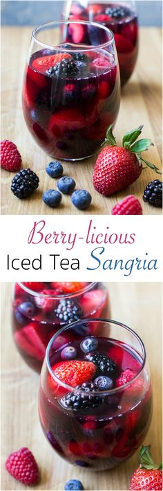 3 (18.5 ounce) bottles Pure Leaf Sweet Tea (about 7 cups), chilled 1 (750 mL) bottle Red Moscato or other sweet red wine, chilled 2 cups berry juice, chilled 2 lbs. strawberries (hulled and sliced), blackberries, blueberries, and raspberries