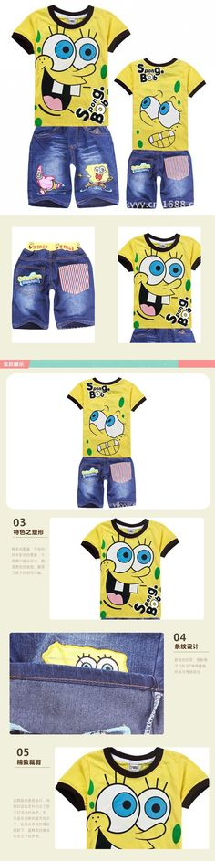 e23ad1010 Retail 2015 SpongeBob Boys Clothing Sets Summer Kids Boys Clothes Set Short  Sleeves Shirt+Jeans