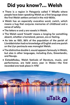Impress your friends with these fun facts about Welsh and Wales—and if you're interested in learning why not start with uTalk? Welsh Language, First Language, Learn Welsh, St David, Welsh Words, Wales Flag, Scottish Gaelic, In Patagonia, Kingdom Of Great Britain
