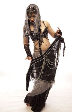 Dark Fusion Belly Dance | Tribal Fusion belly dance belt , bra and headdress by Apsara-Art