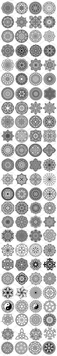 100 Vector Mandala Ornaments by pixaroma on @creativemarket