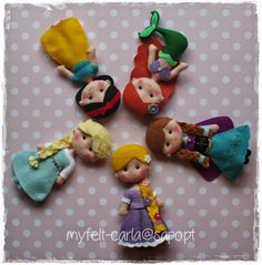 These are made with felt but would be cute made from polymer clay Cute Crafts, Felt Crafts, Diy And Crafts, Crafts For Kids, Fabric Dolls, Paper Dolls, Idee Diy, Felt Patterns, Felt Diy
