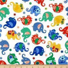 Michael Miller Elephants, Lions, & Monkeys Oh My Elephant Romp Primary from @fabricdotcom  Designed for Michael Miller Fabrics, this cotton print is perfect for quilting and craft projects as well as apparel and home décor accents. Colors include pink, green, white, blue, orange and yellow.