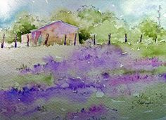 "This is so pretty! ""Lavender Field"" Watercolor Painting by RoseAnn Hayes"