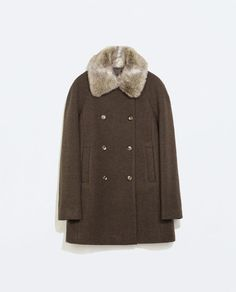 ZARA - WOMAN - WOOL COAT WITH DETACHABLE FUR COLLAR
