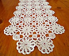 Doily Crocheted Runner Doily Vintage Ecru Doilies Centerpiece   B245 by treasurecoveally on Etsy