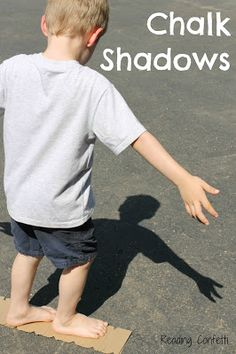 Use sidewalk chalk and your own shadows for a fun kid activity perfect for summer. #imagination #play