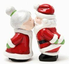 """Santa Kissing Mrs Claus"" Magnetic Salt & Pepper Shakers Set by PA. $8.27. Magnetic salt and pepper shakers  H:3 5/8"""