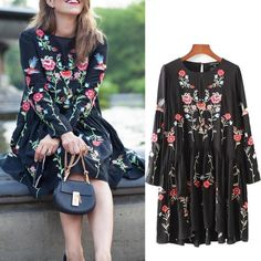 2017 Boho Chic Gypsy Womens Floral Bird Embroidered Mini Dress Tunic Blouse Tops