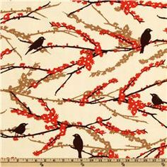"""Joel Dewberry's Aviary 2 Collection. Sparrows in  Bark Cream \\ $9 per yard \\ 44"""" wide Quilting"""