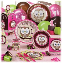 Owl Birthday Party Supplies and Ideas... if i have a baby girl her first years of her life will be filled with these cute owls and designs.... so she can take after her great grandma and love them:)