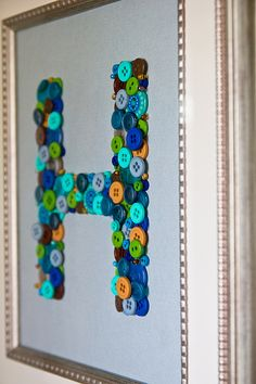 Framed Button Mongram Key Holder from the Foodie Bride