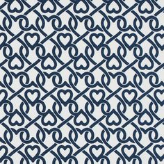 White/Navy Chain-linked Hearts Printed on a Stretch Cotton Poplin