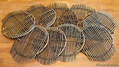 willow trivets by Katherine Lewis - Willow Basketmaker Farmers Market Display, Market Displays, 9th Anniversary, Anniversary Gifts For Him, Art Plastique, Wicker, Rattan, Rustic Furniture, Basket Weaving