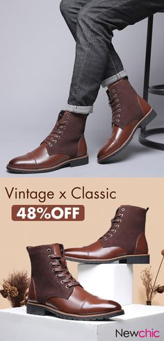 c93ee48003e Men Vintage Cap Toe Outdoor Wearable Lace Up Ankle Boots is fashionable