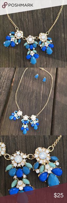 NEW‼️Gorgeous Set of Statement Necklace + Earrings Gorgeous Set of Statement Necklace + Earrings in Blues and Opal Rhinestones. Jewelry Necklaces