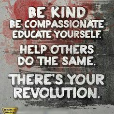 Be kind.  Be compassionate.  Educate yourself.  Help others do the same.  There's your revolution.