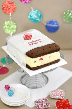 "Giant ice cream sandwich! I don't know about the ""banana split"" ice cream in the center, but this would be brilliant for a birthday party with the person's favorite flavor inside. This is a great tutorial...next year I'll be so happy I pinned this!!"